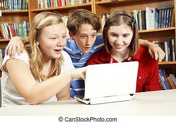 verwonderd, internet, -, geitjes, opleiding