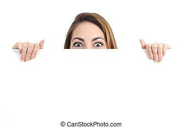 verwonderd, vrouw, eyes, op, een, leeg, reclame, display