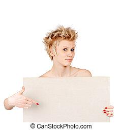 verwonderd, vrouw het richten, boord aan, voor, advertisement., vrijstaand, op wit, achtergrond.