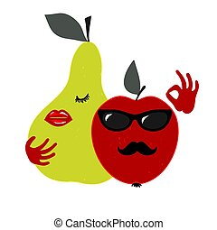 Very adorable fruits. - Apple and pear amorous couple. ...