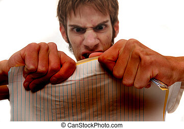 Very Angry young man trying to rip papers - Angry young man...