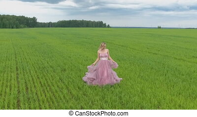 Very attractive women. girl in wedding dress. Slow motion