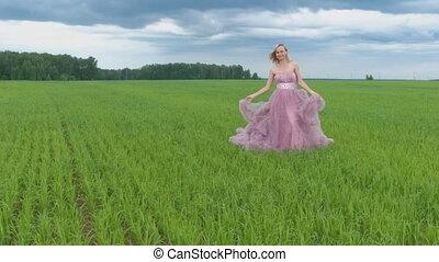 Very attractive women. girl in wedding dress walking. Slow motion
