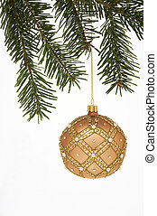 very beautiful Christmas Tree Ball hanging on a spruce on...