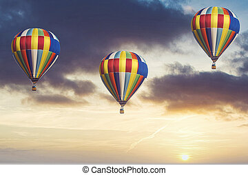 very beautiful hot air baloon in the sky
