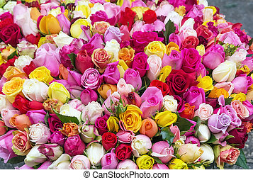 very big bouquet of multi-colored roses