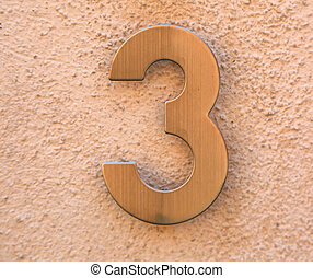 text number 3 in golden metal - very big text number 3 in ...