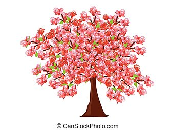 Very bushy blooming fruit tree with red-pink flowers. Beautiful colorful spring tree in isolated environment and vector format.