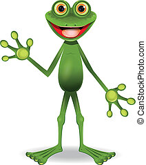 very cheerful frog - standing very cheerful frog with big...