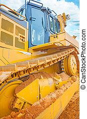very close up view on bulldozer