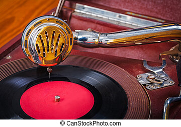 very close up view on gramophone