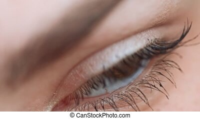 Very closeup of womans eye with eyelashes and eyebrow