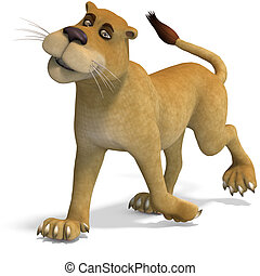 very cute and funny female cartoon lion. 3D rendering with...