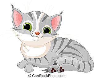 Very cute cat - Illustration of very cute gray cat
