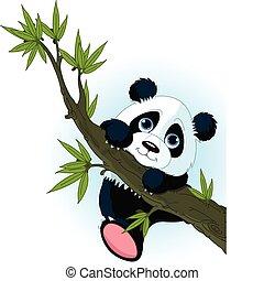 Very cute Giant panda climbing tree