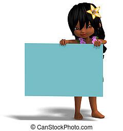 very cute hawaiian cartoon girl invites you. 3D rendering...