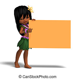 very cute hawaiin cartoon girl invites you. 3D rendering with clipping path and shadow over white