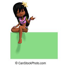 very cute hawaiin cartoon girl invites you. 3D rendering...