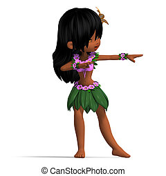 very cute hawaiin cartoon girl is dancing for you. 3D rendering with clipping path and shadow over white