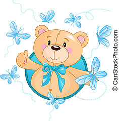 Very cute Teddy Bear waiving hello