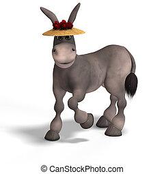 very cute toon donkey - sweet cartoon donkey with pretty...