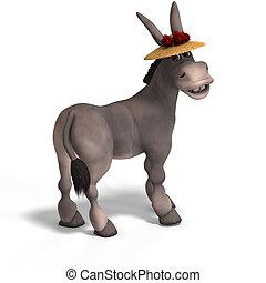 very cute toon donkey - sweet cartoon donkey with pretty ...