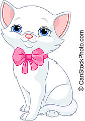 Illustration of Very Cute white Cat with pink bow