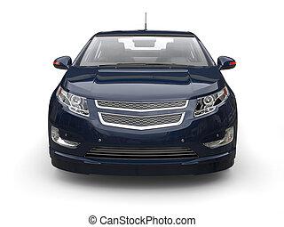 Very dark blue modern electric car - front view closeup