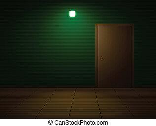 Very dark room with door and lamp