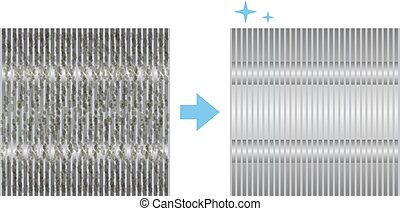 very dirty air-conditioner condenser cooling fins.