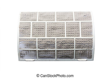 Very dirty air conditioner filter on a white background