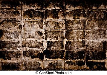 very dirty brick wall