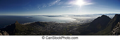 Very early morning panorama view of Cape Town from Table...