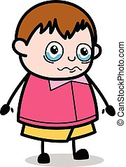Very Emotional - Teenager Cartoon Fat Boy Vector Illustration