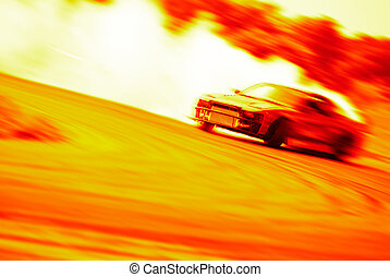 Very fast driving, motion blur drift on fire - Very fast...
