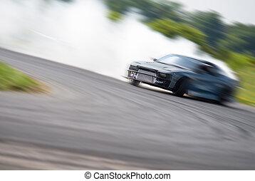 Very fast driving, motion blur drift