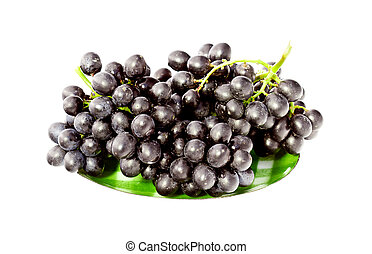 very fresh grapes isolated on white background