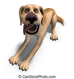 very funny cartoon dog is a little bit nuts. 3D rendering with clipping path and shadow over white
