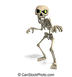 very funny cartoon skeleton. 3D rendering with clipping path...