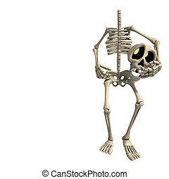 very funny cartoon skeleton. 3D rendering with clipping path and shadow over white