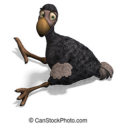 very funny toon Dodo-bird. 3D rendering with clipping path ...