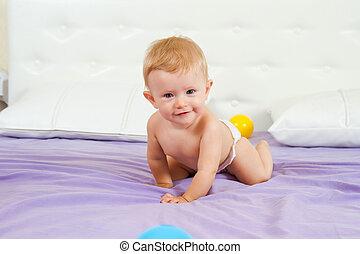 Very happy and joyful little baby