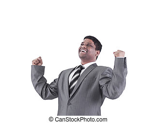 very happy businessman .isolated on a white background.