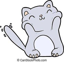 very happy cute cartoon cat