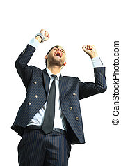 very happy energetic businessman
