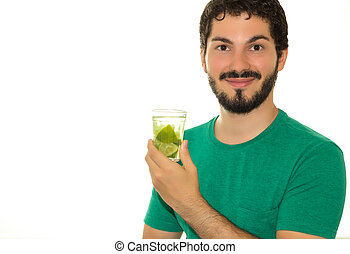 Very happy, this young man is drinking caipirinha.