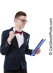 very happy young business man with a clipboard in hand