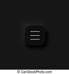 Very high detailed black user interface hamburger menu button for websites and mobile apps, vector illustration