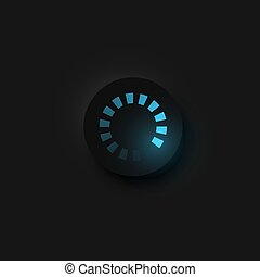 Very high detailed black user interface round loading button for websites and mobile apps, vector illustration