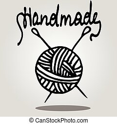 vector ball of yarn and knitting needles